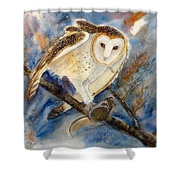 Moonlight Feast - Barn Owl Shower Curtain