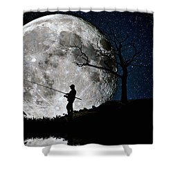 Shower Curtain featuring the photograph Moonlight Fishing Under The Supermoon At Night by Justin Kelefas
