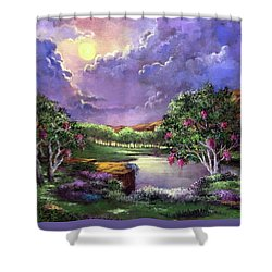 Moonlight In The Woods Shower Curtain by Randy Burns
