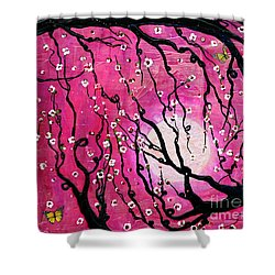 Shower Curtain featuring the mixed media Moonlight Melody by Natalie Briney