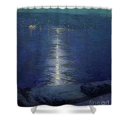 Moonlight On The River Shower Curtain by Lowell Birge Harrison