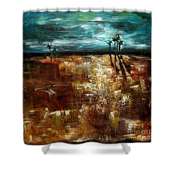 Shower Curtain featuring the painting Moonlight Over The Marsh by Linda Olsen
