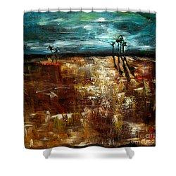 Moonlight Over The Marsh Shower Curtain by Linda Olsen