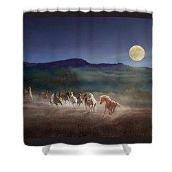 Moonlight Run Shower Curtain by Melinda Hughes-Berland