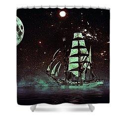Moonlight Sailing Shower Curtain