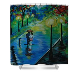 Shower Curtain featuring the painting Moonlight Stroll by Leslie Allen