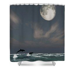 Moonlight Swim Shower Curtain by Richard Rizzo