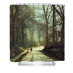 Moonlight Walk Shower Curtain by John Atkinson Grimshaw