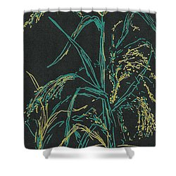 Shower Curtain featuring the mixed media Moonlight Wheat by Vicki  Housel