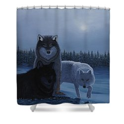 Moonlight Wolves Shower Curtain by Stanza Widen