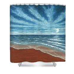 Moonlit Beach Shower Curtain