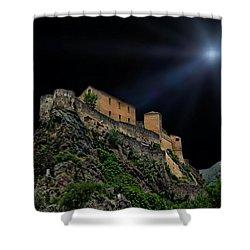 Moonlit Castle Shower Curtain by Anthony Dezenzio