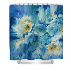 Moonlit Flowers Shower Curtain by Donna Acheson-Juillet