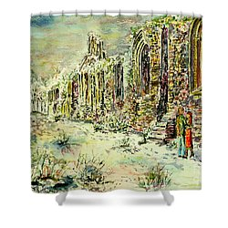 Shower Curtain featuring the painting Moonlit Footsteps On Holy Ground by Alfred Motzer