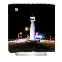Moonlit Gulf Coast Lighthouse Seascape Biloxi Ms 4256b Shower Curtain