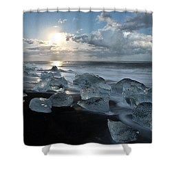 Moonlit Ice Beach Shower Curtain by Roddy Atkinson