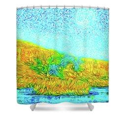Shower Curtain featuring the digital art Moonlit Island Blue - Boulder County Colorado by Joel Bruce Wallach