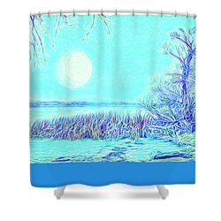 Shower Curtain featuring the digital art Moonlit Lake In Blue - Boulder County Colorado by Joel Bruce Wallach
