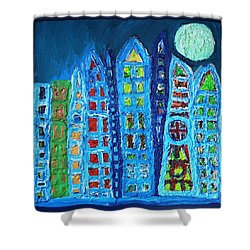 Moonlit Metropolis Shower Curtain by Darrell Black