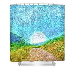 Shower Curtain featuring the digital art Moonlit Path - Marin California Trail by Joel Bruce Wallach