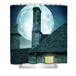 Moonlit Rooftops And Window Light  Shower Curtain by Lee Avison