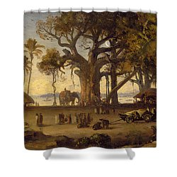 Moonlit Scene Of Indian Figures And Elephants Among Banyan Trees Shower Curtain by Johann Zoffany