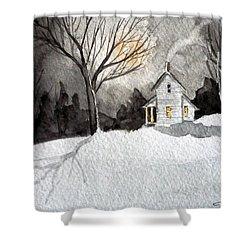 Moonlit Snow Shower Curtain