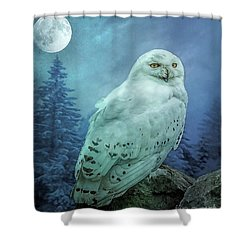 Moonlit Snowy Owl Shower Curtain