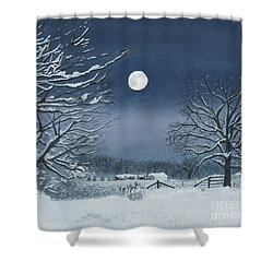 Moonlit Snowy Scene On The Farm Shower Curtain