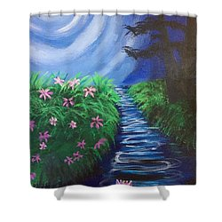 Moonlit Stream Shower Curtain