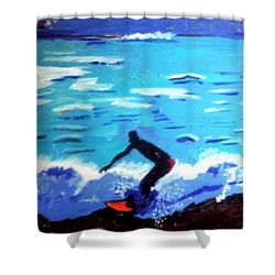 Moonlit Surf Shower Curtain