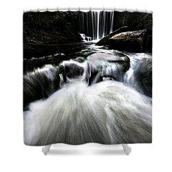 Moonlit Waterfall Shower Curtain by Meirion Matthias