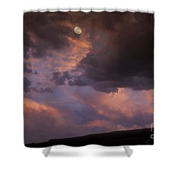 Moonrise And Sunset Shower Curtain by Sandra Bronstein