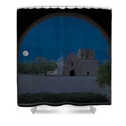 Moonrise On Tumacacori Mission Shower Curtain by Sandra Bronstein