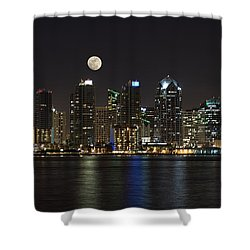 Moonrise Over San Diego Shower Curtain