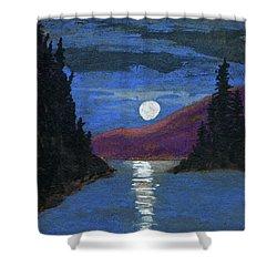 Moonrise Over Strait Shower Curtain