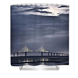 Shower Curtain featuring the photograph Moonrise Over Sunshine Skyway Bridge by Steven Sparks