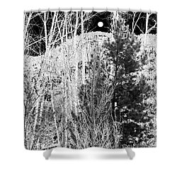 Shower Curtain featuring the digital art Moonrise Over The Mountain by Will Borden