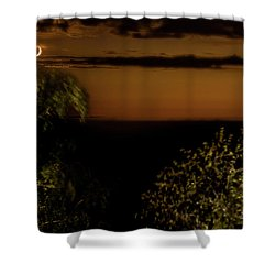 Shower Curtain featuring the photograph Moonset At Bay Harbor by Onyonet  Photo Studios