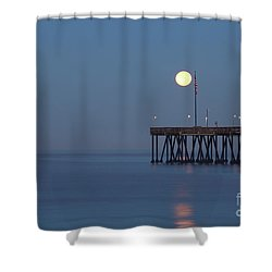 Moonset At The Ventura Pier Shower Curtain