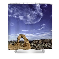 Moonset Delicate Arch Shower Curtain