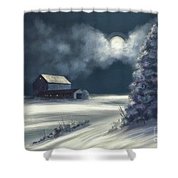 Shower Curtain featuring the digital art Moonshine On The Snow by Lois Bryan