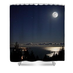 Moonshine Over English Bay Shower Curtain