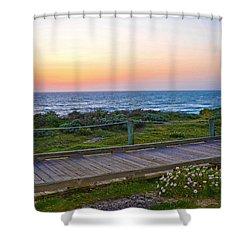 Moonstone Beach Boardwalk Shower Curtain by Lynn Bauer