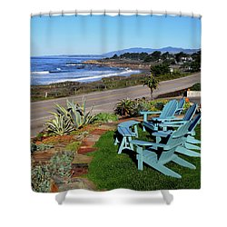 Shower Curtain featuring the photograph Moonstone Beach Seat With A View by Barbara Snyder