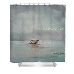 Moored Boat Shower Curtain by Marty Garland