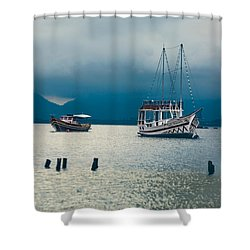 Shower Curtain featuring the photograph Moored Boats by Kim Wilson