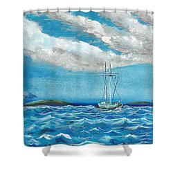 Moored In The Bay Shower Curtain by J R Seymour