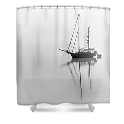 Moored On A Foggy Day Shower Curtain