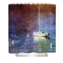 Shower Curtain featuring the photograph Moored Sailboat by Clare VanderVeen